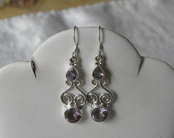"""Amethyst Earrings Handmade Earrings Purple Semiprecious Gemstone 2"""" Sterling Silver Earrings Take 20% Off Women's Purple Amethyst Jewelry"""