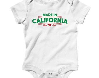 Baby Made in California V2 Romper - Infant One Piece - NB 6m 12m 18m 24m - California Baby, Los Angeles, San Diego, San Francisco - 3 Colors