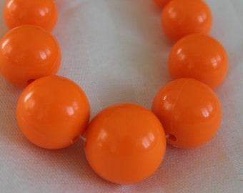 Neon Orange Beaded Lucite Nekclace