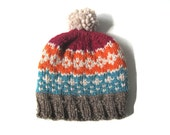 Fair isle chunky pompom hat in burnt orange, teal and maroon hand knitted unisex, READY TO SHIP