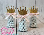 Little Princess Baby Bottle Favors in Baby Pink & Glitter Gold - Set of 12 - Baby Shower