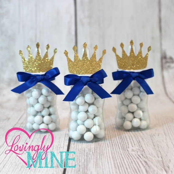 little prince baby bottle favors in royal blue glitter gold set of