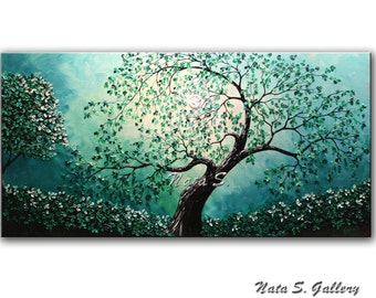 Turquoise Painting Landscape Original Old Tree Art Abstract Teal Tree Artwork on Canvas Palette Knife Large Artwork Wall Art Hanging  Nata S