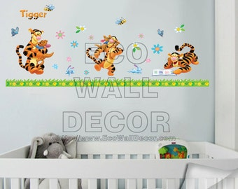 PEEL and STICK Kids Nursery Removable Vinyl Wall Sticker Mural Decal Art - Winnie the Pooh Tiggers Playing & Fun
