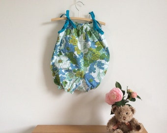 Blue and green floral toddler romper, cotton bubble suit, upcycled fabric size 1 girls ready to ship, funky eco baby summer clothing