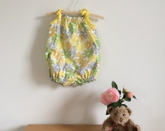 Upcycled baby romper or playsuit, yellow flowers bubble suit, sunsuit, baby romper handmade baby clothing, ready to ship size 0, 6 - 12 mth