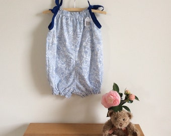 Upcycled baby romper or playsuit, blue and white flowers bubble suit, sunsuit, size 000 - 4 handmade cotton clothing ready to ship in size 2