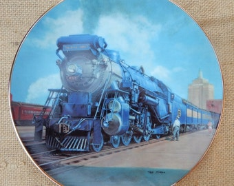 The Blue Comet Collectors Plate  ~  1990 The Hamilton Collection  ~  The Blue Comet From The Golden Age of American Railroads