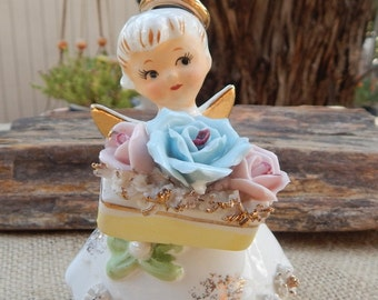 Lefton's Exclusives Rose Pearl June Angel Figurine  ~  Rose Pearl Angel Figurine Geo Z Lefton  ~  Lefton's Exclusives Japan June Angel