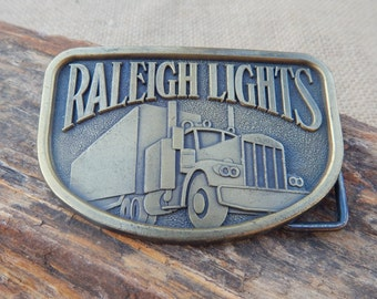 Raleigh Lights Brass Belt Buckle  ~  1970's Raleigh Lights Belt Buckle  ~  Trucker Belt Buckle