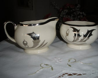 Sugar bowl and milk jug by Hanley of England, Staffordshire chinaware, numbered 1048