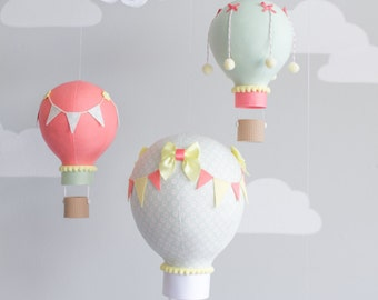 Hot air balloon baby mobile, travel theme, nursery decor, mint and coral balloon mobile, i126