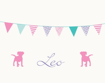 Nursery decal - Wall decal - Banner decal - Flag - Name decal - puppies - Vinyl decals - dog decal