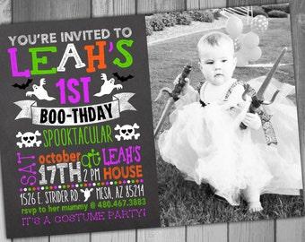 Halloween Birthday Invitation Photo Birthday Girl Birthday Costume Party Chalkboard Birthday Halloween Invitation