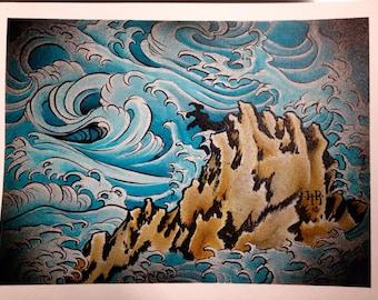 Japanese Wave Study Painting Original Watercolor