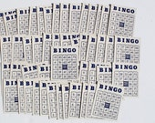 Vintage Bingo Cards White with Blue Print 50 cards 1957 Whitman