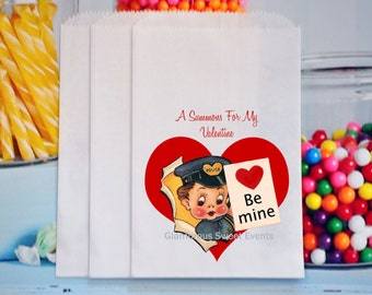 Policeman Valentine Treat Bags, Valentine Police Favor Bags, Valentine Candy Bags, Valentine Treat Bags, GLAMOROUS SWEET EVENTS