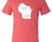 WI Where I Roam ADULT unisex red  t shirt