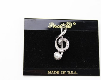 Vintage  Piscitelli Music Musical Note Treble Clef with a Pearl  Pin N 266