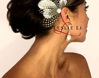 Leslie Li Fan-Shaped Bridal Feather Fascinator -HF52