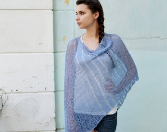 Womens Hand Knit Poncho, blue Shawl Wrap, Holiday Fashion, Summer Spring Poncho, teenagers, Size S - L, oversized , Ready to ship