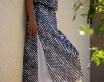 Chiffon long tunic, Summer dress, Galabia, Jalabiya, Blue with white dots