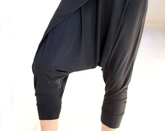 Wrap yoga sweatpants for women, Yoga Meditation wear, Yoga clothes, Black Stretchy harem pants,  loungewear, pregnancy and maternity wear