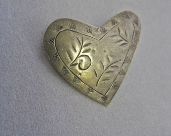 Modernist Heart Brooch Artisan Silver Tone Hand Crafted Etched and Stamped Offbeat Boho Folk Art