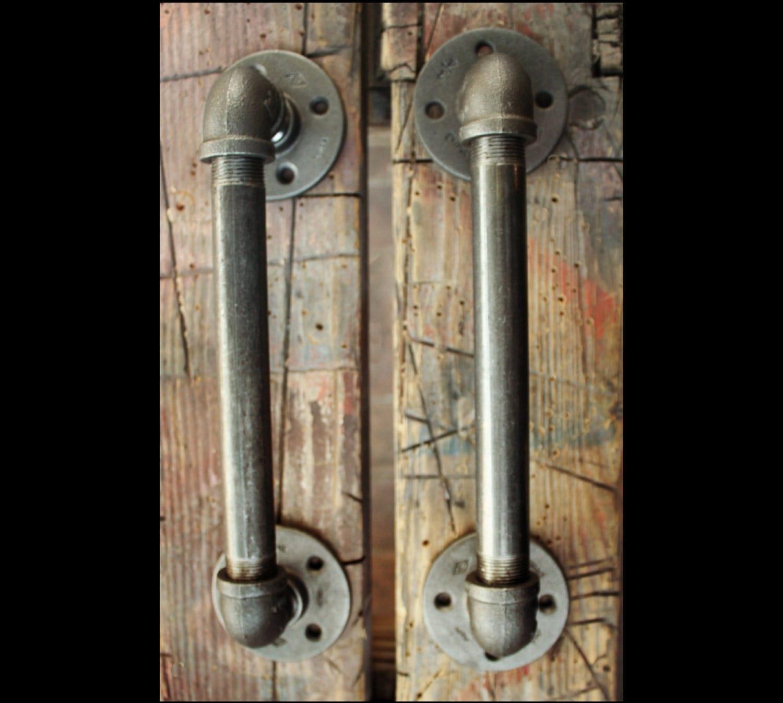 2 industrial door handles black pipe door pulls industrial for Door pull handles