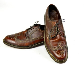 SALE Vintage Freeman Free-Flex Brown Balmoral Wing-tip Dress Shoe Mens 11 D