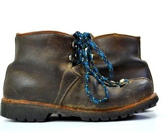 70s Hiking Boots Rough Out Leather Swiss Made Mountaineering Boots 8.5 Womens