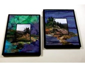 "2 Piece COMBO! Fiber art, mountain scenery on fabric, appliqued fibers and free-motion stitching, 8""x10"""