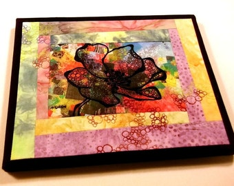 """Art quilt, thread stitched/doodled, flower on fabric, free-motion quilted and pieced, 8""""x10"""""""