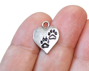 8 Paws Heart Charms Antique Silver Tone - CH599