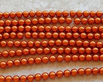 8mm Burnt Orange PRECIOSA Traditional Czech Glass Pearl Beads, 25 PC (INDOC592)