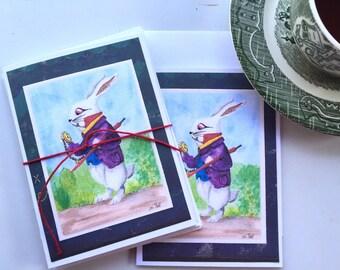 Wonderland Rabbit Handmade Notecards 4 Pk - Original Watercolor by Artist Sherry Hall
