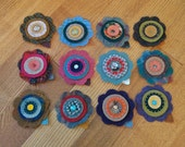 12 Felted Wool Flowers with Penny Wool Circles for Crafts