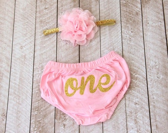 "First Birthday ""One"" Diaper Cover & Headband Set in Pink and Gold Glitter - Smash Cake Outfit - 1st Birthday - Baby Bloomer - Baby Girl"