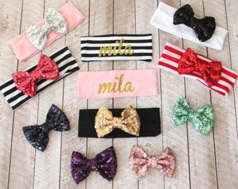 Design Your Own Personalized Sequin Bow Headband - Baby Headbands - Bow Head Wrap - Large Bow - Glitter Headband - Name Headband - Baby Gift