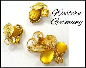 Rhinestone Brooch & Earrings Set, Gold Moonglow, Topaz Rhinestones, Gold Filigree, WESTERN GERMANY, Mother of Bride, Mother of Groom