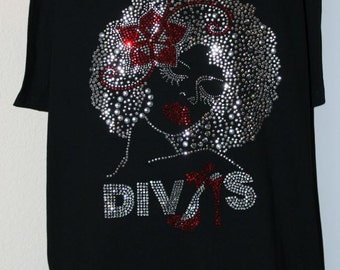 Women's Divas Rhinestone T-Shirt, Rhinestone T-Shirt, Divas T-Shirt