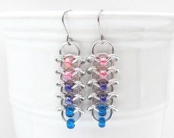 Bi pride chainmail earrings, bisexual pride jewelry, chainmail centipede weave; pink, purple, blue