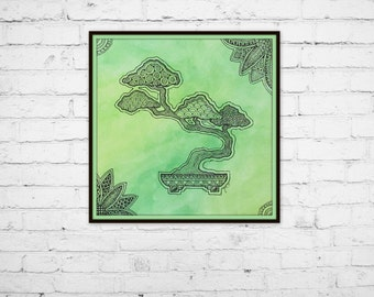 "Art Print 8""x8"", Green Watercolor Zen Bonsai Tree Zentangle wall home decor"