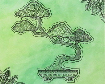 "Art Print 8""x8"", Green Watercolor Zen Bonsai Tree Zentangle wall home decor"