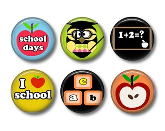 School days pinback button badges or fridge magnets