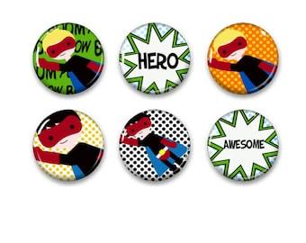 Superhero pinback button badges or fridge magnets