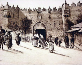 Vintage Black and White Print by Elias Grossman - Damascus Gate, Jerusalem - Etching and Dry Point for Home Decor - Vintage Wall Hanging