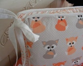 Woodland Fox Custom Crib Bumpers / Six Piece / Taupe Black Orange Coral / Baby Bedding