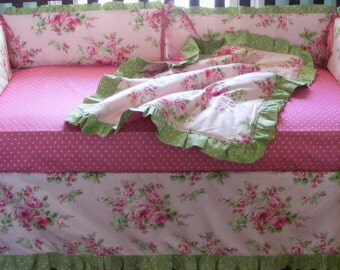 Romantic Roses Cottage Style Pink Baby Bedding 4 pieces with Bumper Crib Three Tiered Skirt Blanket Pillow