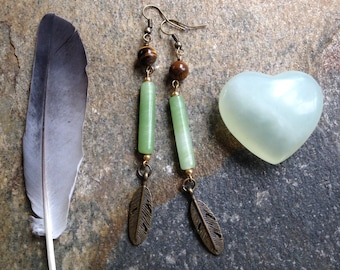 gaia. tigers eye and jade glass feather statement earrings. READY TO SHIP